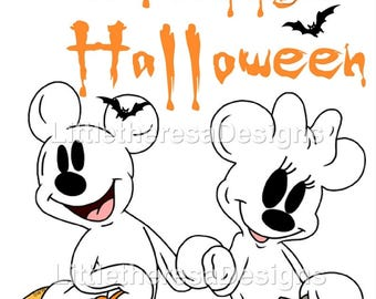 Mickey and Minnie Halloween Ghost Iron On Transfer