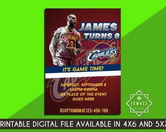 Basketball Invitation. Cleveland Cavaliers Invitation. Cleveland Cavaliers Digital. Lebron James Invitation