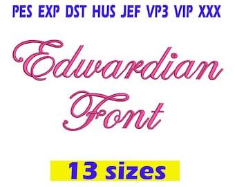 Edwardian Script Embroidery Font / Edwardian Script Font embroidery design/ INSTANT download