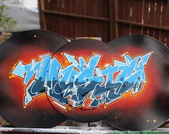 graffiti style painting record vinyl art hip hop street art