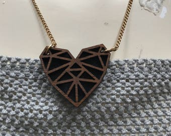 Laser cut wooden heart