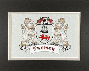 "Twomey Irish Coat of Arms Print - Frameable 9"" x 12"""