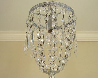 Vintage Hollywood Glam Pendant Ceiling Fixture with Prisms