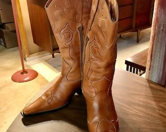 Women's Vintage Leather Cowboy Boots