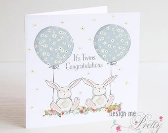 Its Twins! New Twin Baby Boys Greeting Card