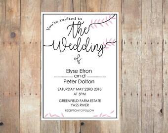 Wedding Invitation Printable, Pink Leaves