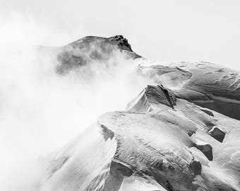 Large Alps Mountain Snow Black and White Photography on Canvas 90cm x 60cm | mountain landscape panoramic canvas large