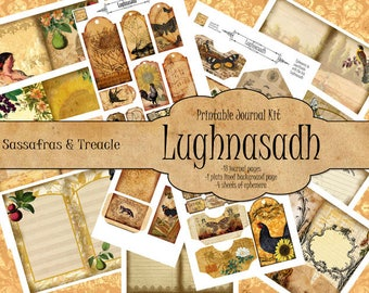 Lughnasadh Digital Journal Kit, printable ephemera,  junk journal kit,