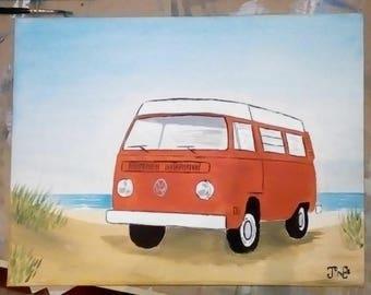 VW Campervan Type 2 Bay Window. Original Painting. Volkswagen Camper