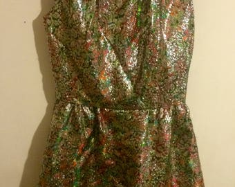 60s Psychedelic Lamé Party Dress