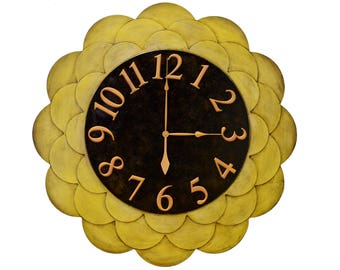 "48"" Sunflower Wall Clock,  Custom Wall Clock, Flower Wall Clock,  Sunroom Decor, Yellow Wall Clock, Oversized Wall Clock, Large Wall Clock"