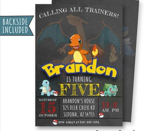 Pokemon Invitation, Pokemon Birthday Invitation, Pokemon Invitations, Pokemon Party, Printables, Personalized, Charmander Invitations