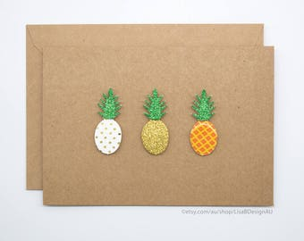 Pineapple Card | Handmade Card | 3D Stickers | Kraft Card | Fruit Stickers | Cute Stickers | GCHCL02
