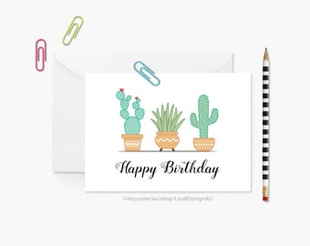 Cactus Birthday Card | Cacti Plant | Happy Birthday | Cactus Lover Gift | Plant Lover | Succulent Plants | Card For Her | GCBCA607