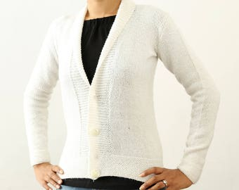 Clearance SALE 20%, Handmade woman white wool cardigan, Hand knit collared spring & autumn jacket with buttons,  knitted plain woman jacket