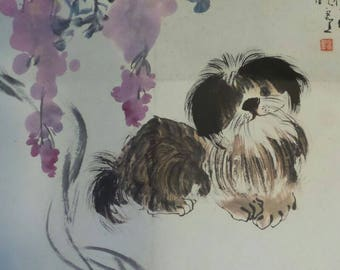 Lovely dog Chinese painting by 汪晓灵