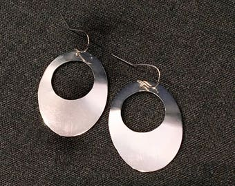 Sterling Silver Oval Cut-out Earrings