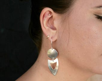 Sterling Silver Hand-Cut Modern Earrings