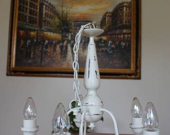 White Distressed Chandelier - French Country - Farmhouse