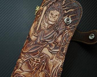 Handmade tooled leather biker wallet skull prajna ghost Acalanatha trucker wallet long wallet clutch