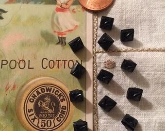 Vintage Black Jet Tiny Square Buttons Set/12