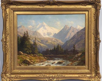 19th Century Swiss Alps by Jean Philippe George-Julliard