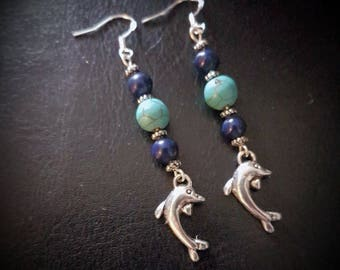 LAPIS lazuli & turquoise HOWLITE beaded DOLPHIN drop hook earrings. blue/silver/gemstone/healing/pagan/wicca/crystal/protection/knowledge