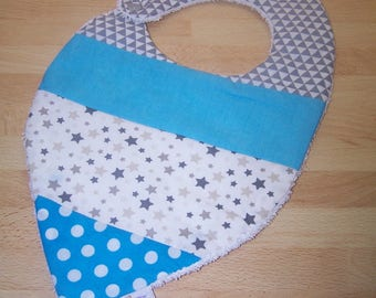 Cute personalized bandana bib in cotton and coated cotton Terry