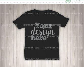 T- Shirt Mockup, Shirt Template, Children T-Shirt Mockup, Wood Background, Digital Background, Custom Design Background, Black Shirt, Mockup