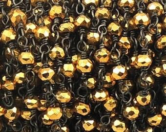 50% off 5 Feet Beautiful Gold Pyrite Beaded Chain 3mm Rosary Chain, Gold Pyrite Beaded Black Wire Wrapped Chain CH112
