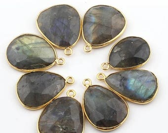 50% off 8 Pcs 24K Gold Plated Flashy Labradorite Gemstone Faceted Assorted Shape Single Bail Pendant 24mmx16mm-25mmx19mm PC027