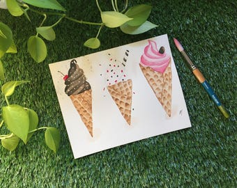 Trio of ice cream cones, watercolor illustration made by hand, 8 x 10, 300g paper