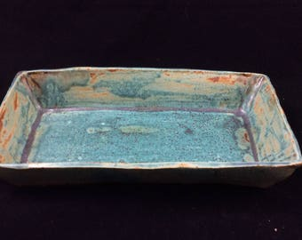 Teal lace dish