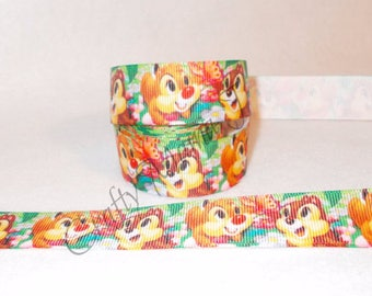 "ONE TIME Offer of Walt Disney Chip and Dale two chipmunk cartoon characters 7/8"" Grosgrain Ribbon. 5 Yards."