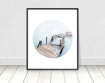Watercolor River and Broken Bridge Painting Printable Art Print- Original Home Decor Wall Art-Instant Download Digital Prints-8X10-16X20