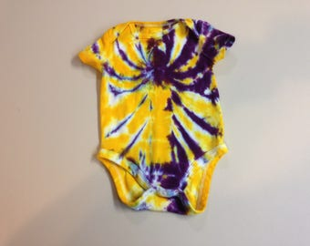 Tie Dyed Baby Onesie Purple and Gold