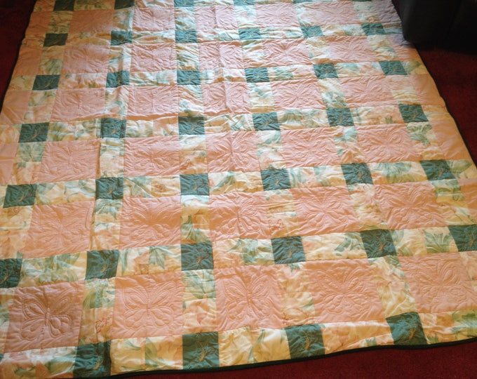 Embroidered Pink and Mint Green Butterfly and Flower Quilt 68 x78 inches , Pink and Mint Green Twin or Full Quilt, Quilted Butterflies