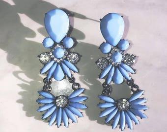Bright Blue Statement Earrings