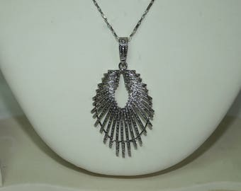 Estate fashion 4.40 ctw pave diamond, drop shaped designer pendant sterling silver necklace - 2651729
