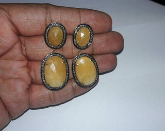 Victorian-style 2.30ctw rose cut diamond Yellow sapphire dangler designer earrings - 2651720p
