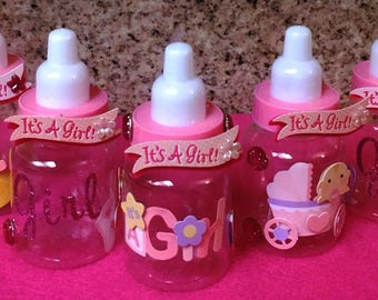 12  3.5 it's a girl baby bottles, party favors
