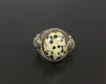 Vintage Sterling Silver Dalmatian Jasper Ring Size 6.25