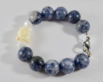 Semi-Precious Sodalite Buddha Bracelet
