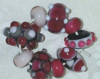 Vic's Glass Creations - Raspberry Collection - handmade lampwork focal bead set - SRA