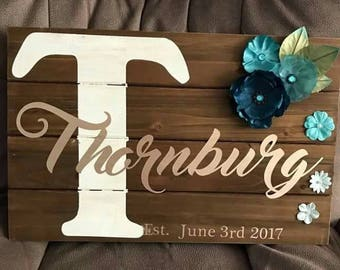 Personalized wall hanging, personalized wedding gift, housewarming gift, personalized gift, personalized wooden sign