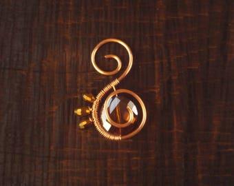 Copper and Glass Sunburst Wirewrapped Pendant