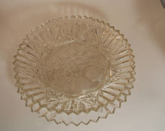 1960's Vintage Federal Glass  Deep Dish Bowl and platter with Fruit Pioneer Pattern