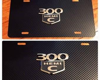 Dodge Mopar 300c Hemi Chrysler 3D License Plate Custom New Aluminum Carbon Fiber Black & Chrome Ram Challenger Charger Mopar Cuda SRT8 Hemi