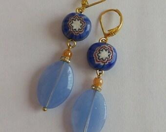 Earrings pearls glass