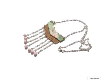 TROPICALIEGE / / chevron pattern necklace and Cork pink beads